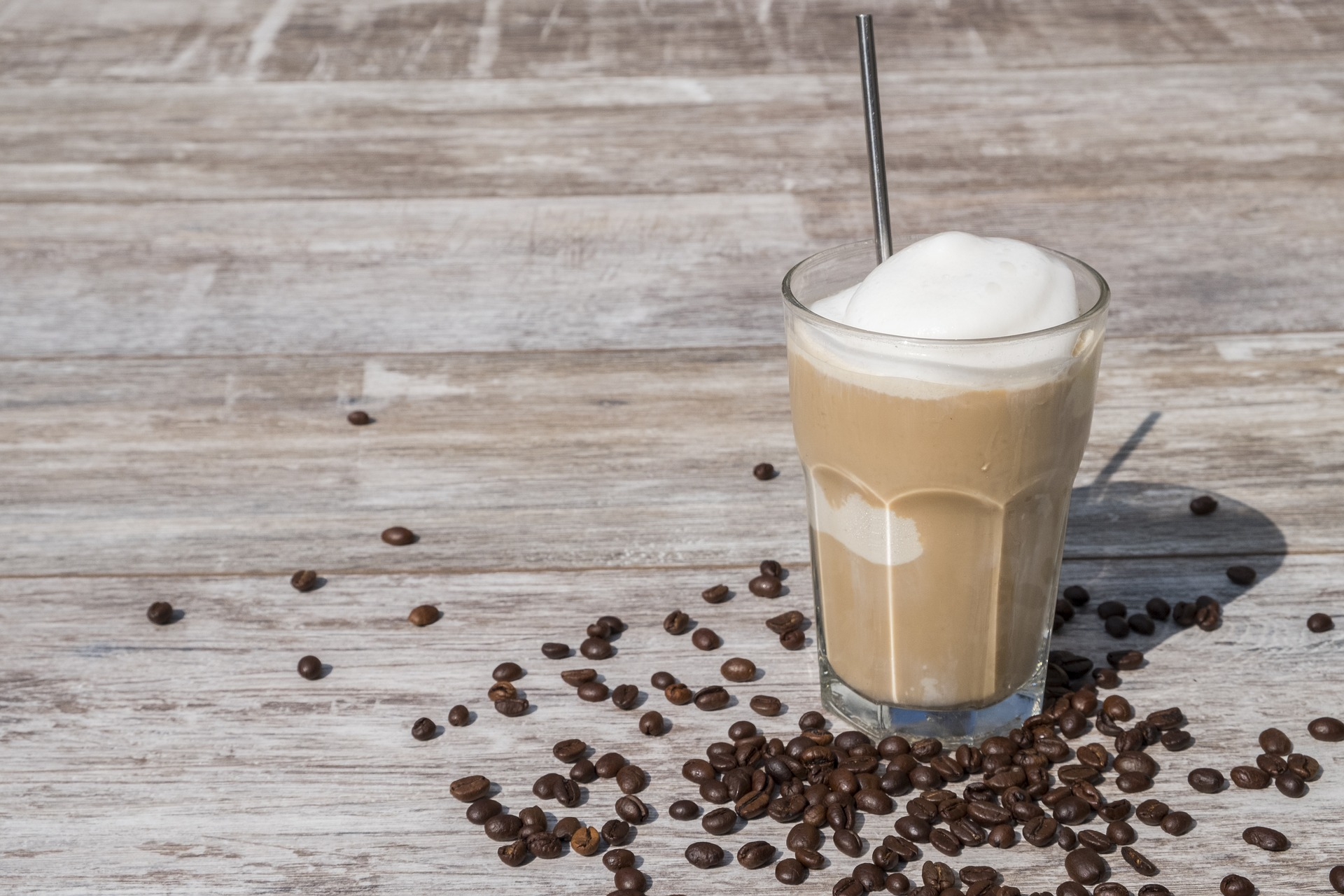 Iced coffee with cold milk foam